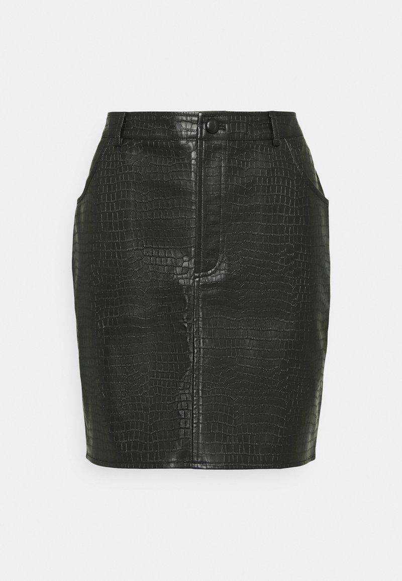 Missguided - CROC MINI SKIRT - Mini skirt - black
