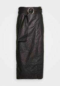 Topshop - LEAT WRAP PENCIL - Pencil skirt - black - 4