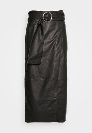 LEAT WRAP PENCIL - Spódnica ołówkowa  - black