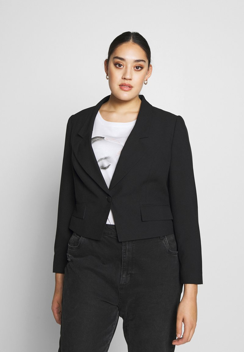Simply Be - ESSENTIAL FASHION NEW CROPPED STYLE COLLAR - Sportovní sako - black