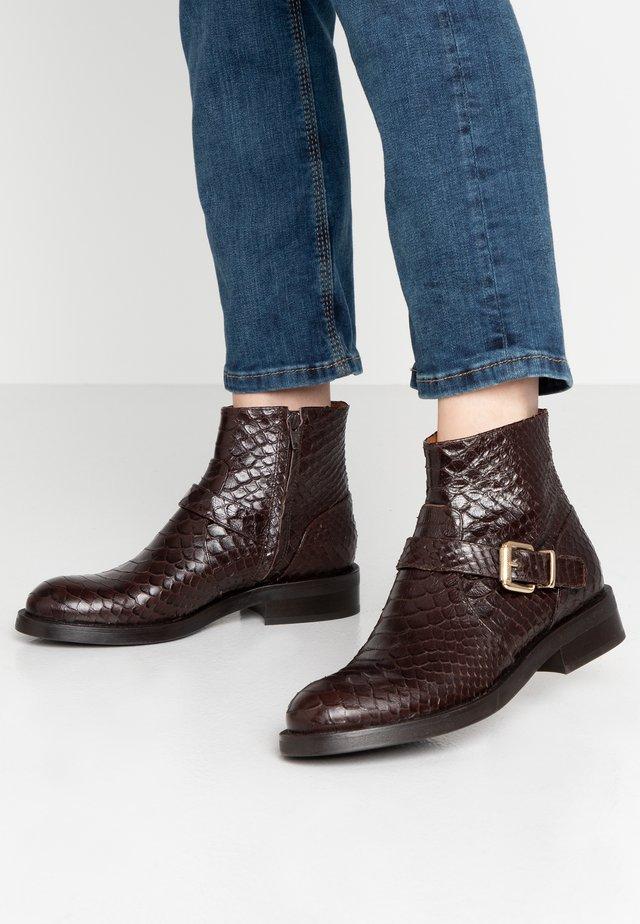 Cowboy/biker ankle boot - testa di moro/gold