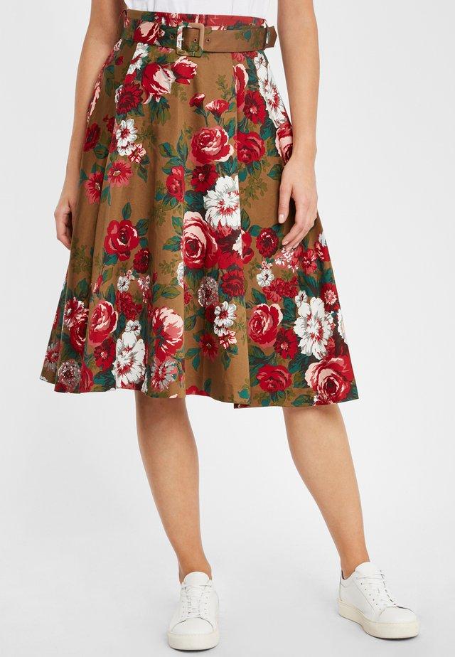 SKIRT CTTN FLORAL RSFLORALBRW - A-line skirt - brown