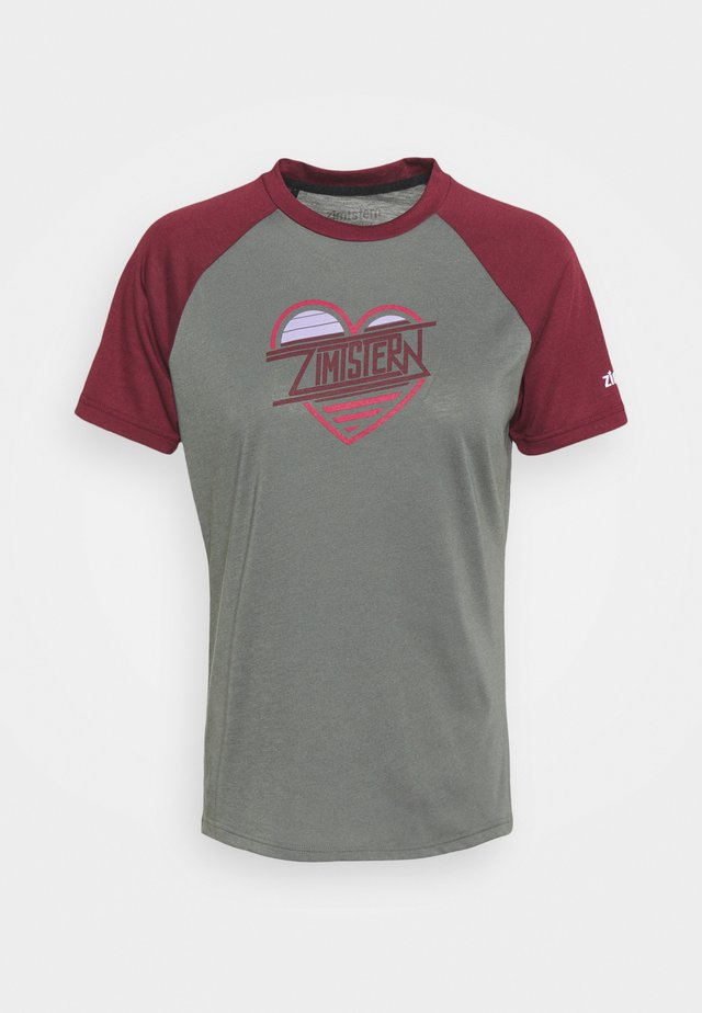 HEARTZ TEE - Triko s potiskem - gun metal/windsor wine