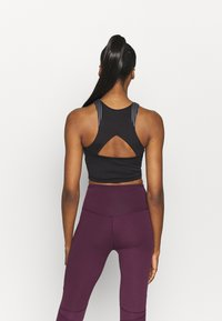 South Beach - HIGH NECK MUSCLE BACK CUT OUT LONGLINE - Sport BH - black /grey - 2