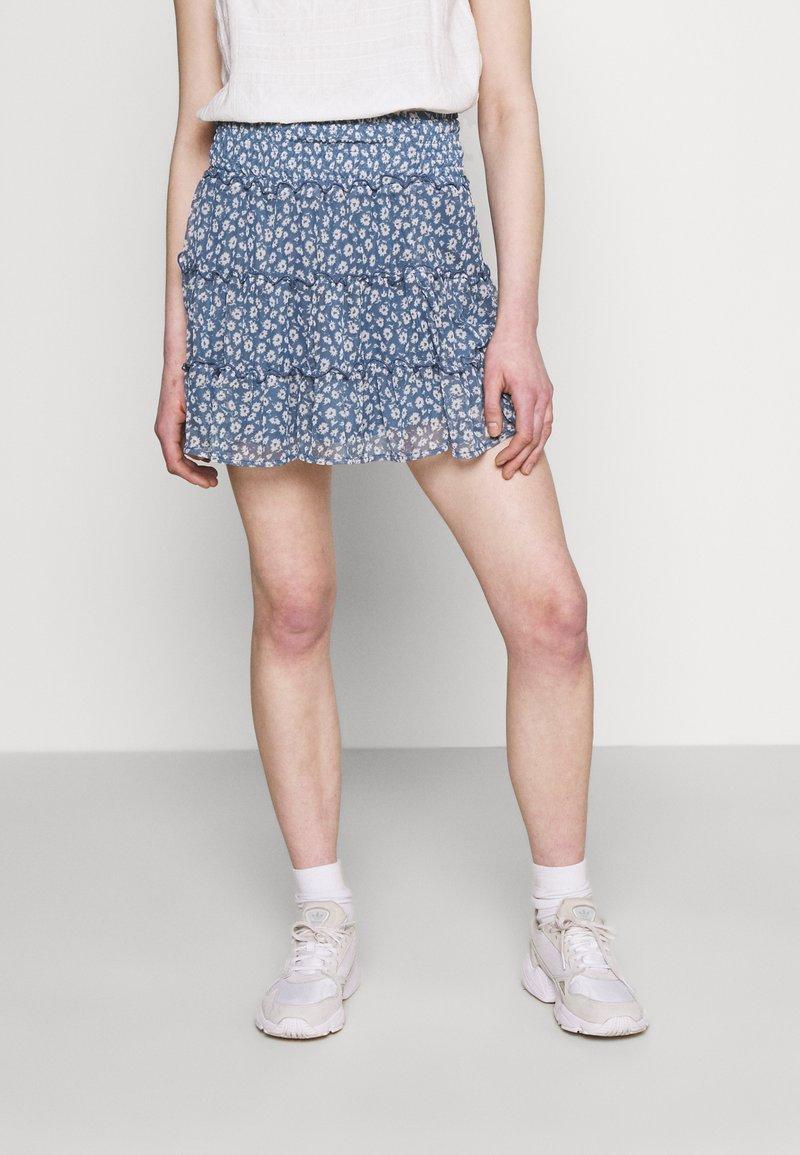 American Eagle - TIERED SKIRT  - Mini skirt - navy