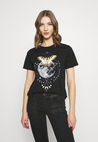 Even&Odd - HATTIE MOON AND BUTTERLY TEE - T-shirt print - black - 0