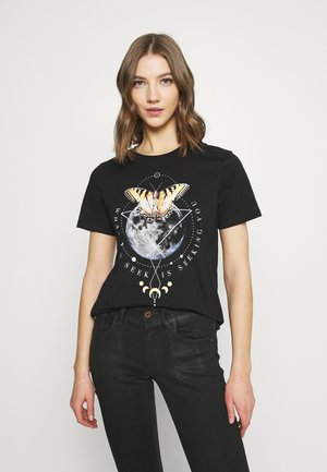 HATTIE MOON AND BUTTERLY TEE - T-shirts med print - black