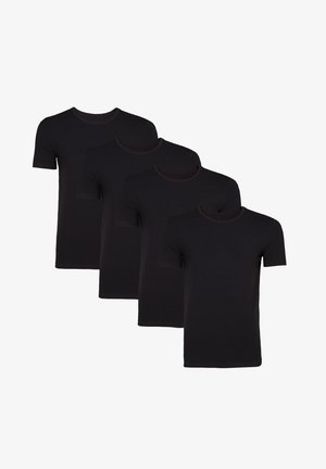 WE FASHION HERREN T-SHIRT, 4ER-PACK - T-shirt basic - black