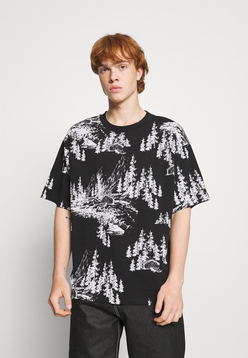 Jaded London - HAND DRAWN WOODLAND SCENE - Print T-shirt - black/white