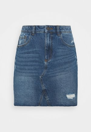 NMFREJA DESTROY  SKIRT - Minifalda - light blue denim
