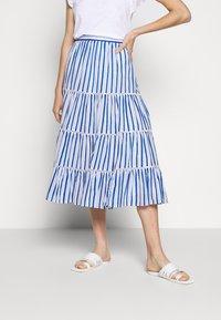 J.CREW - VOILE MIDI - A-line skirt - blue/multi - 0