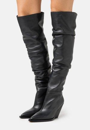 Kozačky nad kolena - dark grey