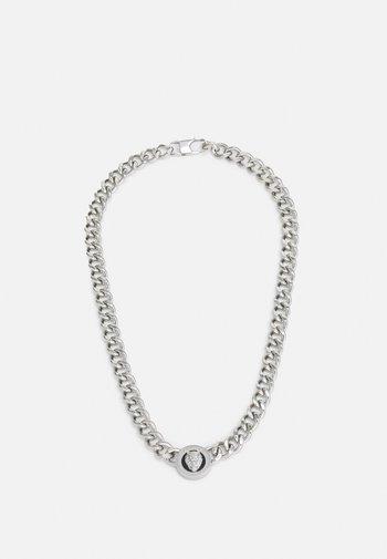 LION COIN CHAIN NECKLACE UNISEX - Necklace - silver-coloured/black