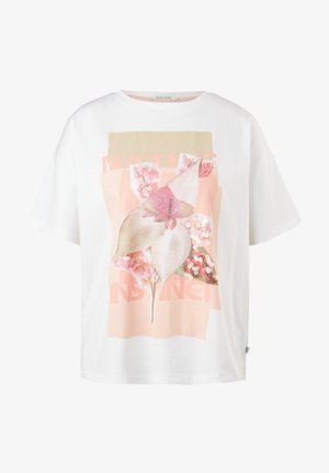 MIT PAILLETTEN - T-shirt con stampa - white placed print