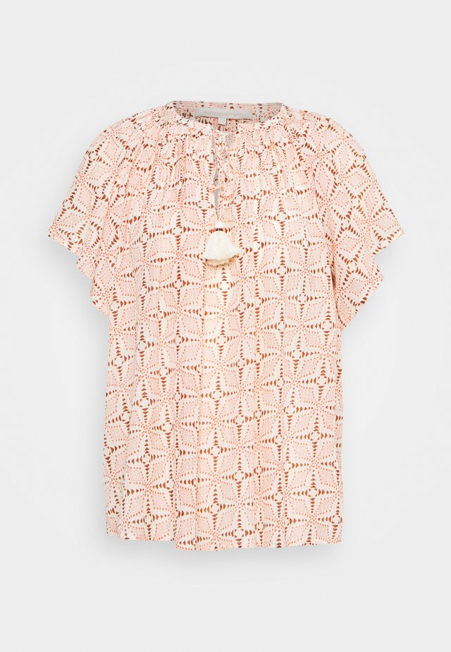 LOWELL - T-shirt con stampa - beige