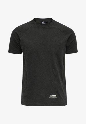 CALEB - Print T-shirt - black melange