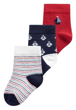 3 PACK BOAT SOCKS - Ponožky - red
