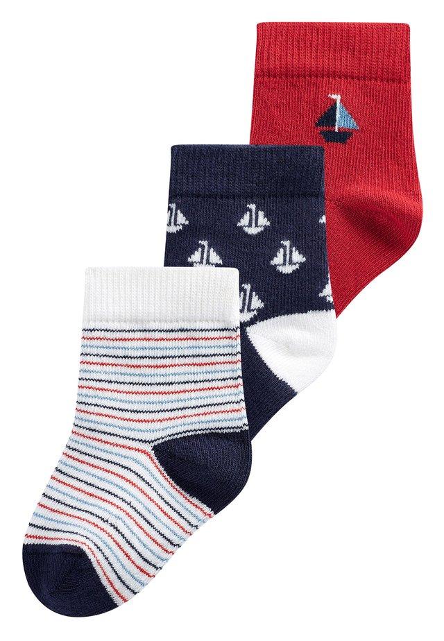3 PACK BOAT SOCKS - Ponožky - red