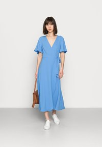 Zign - WRAP SOLID DRESS - Day dress - blue - 1