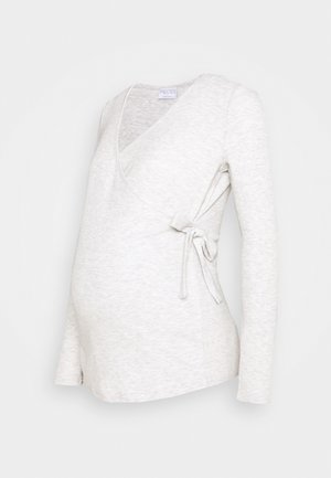 PCMROSA WRAP LOUNGE  - Long sleeved top - light grey melange