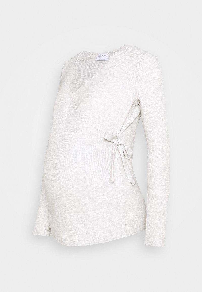 Pieces Maternity - PCMROSA WRAP LOUNGE  - Langærmede T-shirts - light grey melange