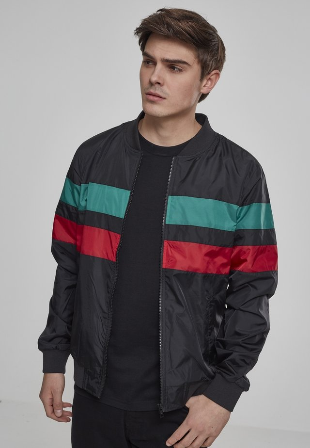 STRIPED NYLON JACKET - Giacca leggera - black/firered/green