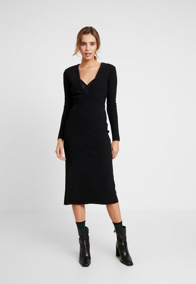 ELKE MIDI WRAP DRESS - Cocktailkjoler / festkjoler - black