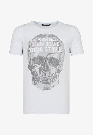 MIT PAILLETTEN TOTENKOPF PRINT - Print T-shirt - weiss