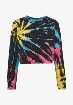 LADIES TIE DYE CROPPED CREWNECK - Sweatshirts - black