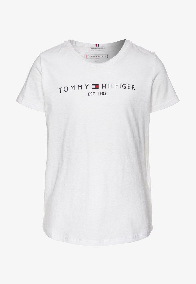 Tommy Hilfiger - ESSENTIAL TEE  - T-shirt z nadrukiem - white