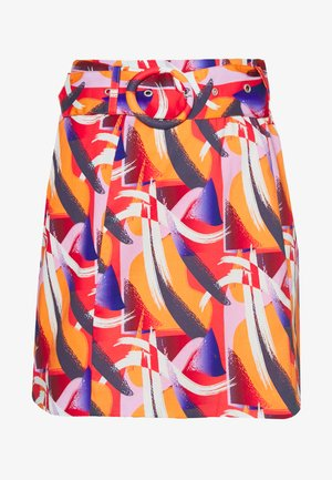 FLORAL PRINTED MINI SKIRT WITH BELT - A-line skirt - multi-coloured