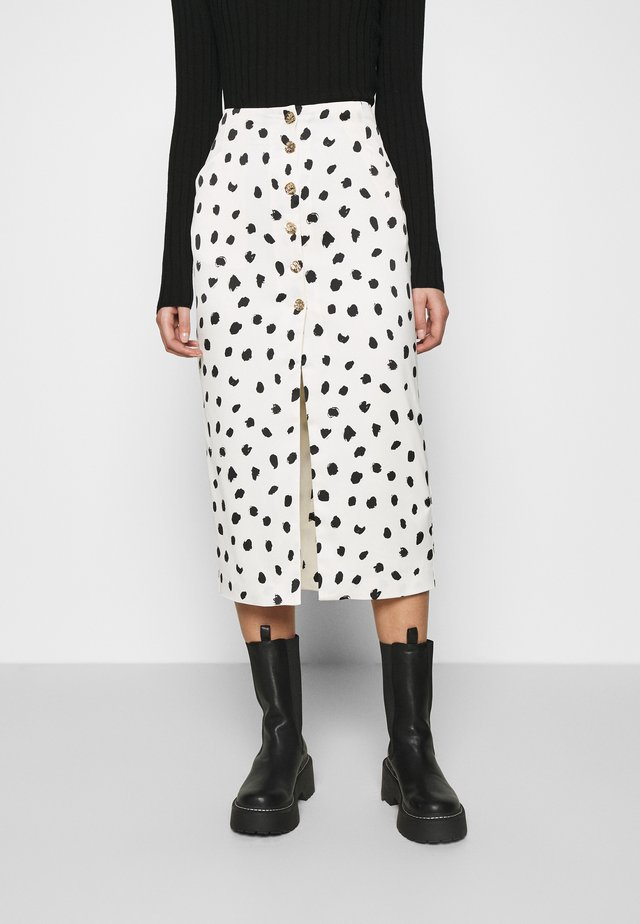 BUTTON FRONT PENCIL SKIRT - Kokerrok - cream