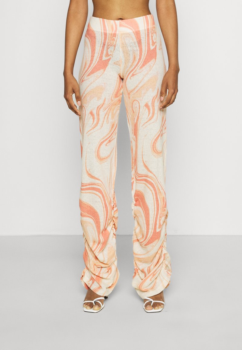 Jaded London - RUCHED JOGGERS SWIRL - Trousers - orange/off-white