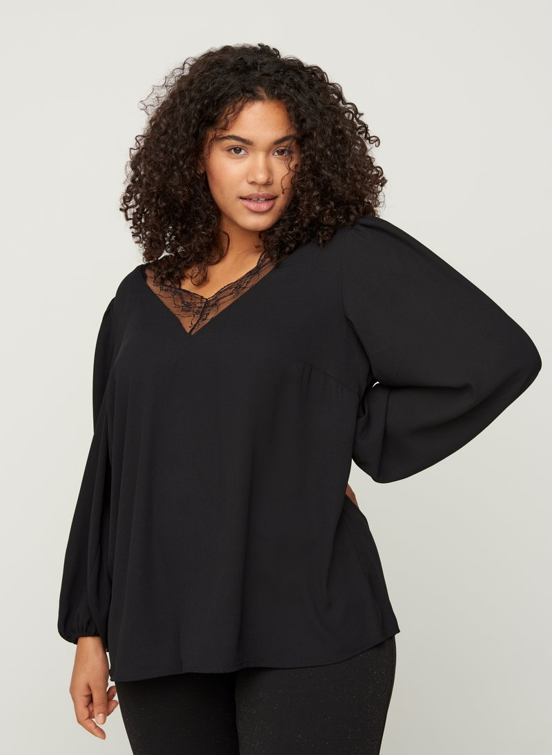 Zizzi - WITH A V-NECK AND LACE TRIM - Blouse - black