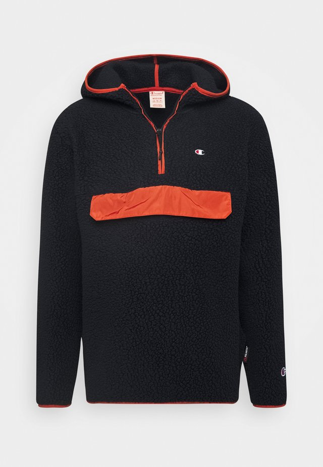 HOODED HALF ZIP - Felpa con cappuccio - dark blue