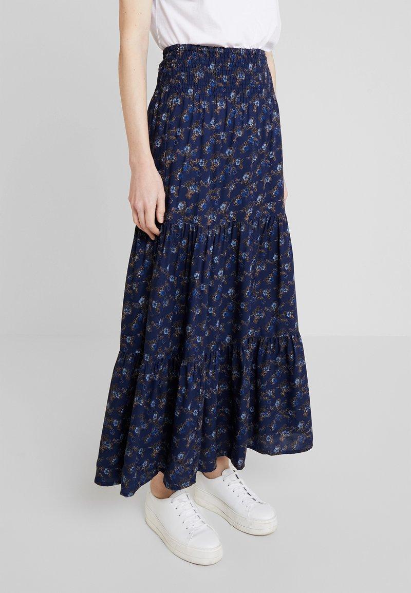 PEPPERCORN - SKIRT FLOWER PRINT - Maxi skirt - dark blue