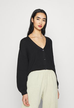 VOLUME SLEEVE BUTTONED CARDIGAN - Cardigan - black
