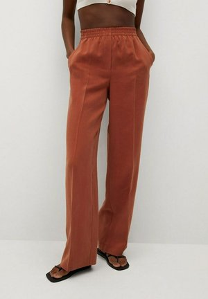 FLOWY STRAIGHT-FIT  - Pantaloni - burnt orange