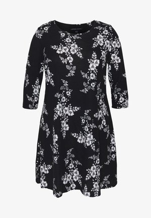 DIPPED HEM SWING DRESS - Jerseykjoler - black/white