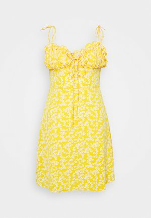 CARE PRINTED MINI DRESS WITH SHOULDER TIE DETAIL - Freizeitkleid - yellow