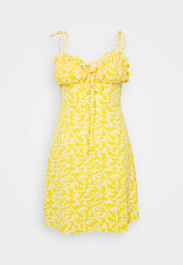 CARE PRINTED MINI DRESS WITH SHOULDER TIE DETAIL - Day dress - yellow
