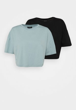2 PACK - Basic T-shirt - black/green