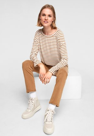 Long sleeved top - brown stsripes