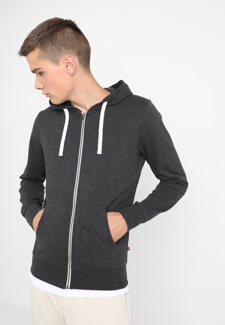 Jack & Jones - JJEHOLMEN - Zip-up hoodie - dark grey melange