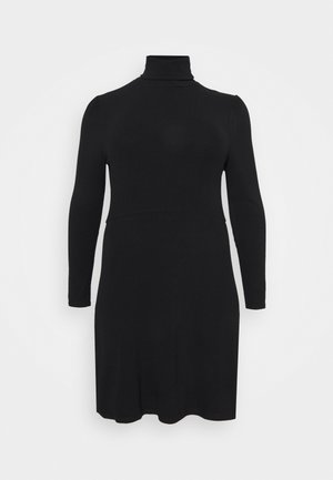 MINI DRESS WITH LONG SLEEVES AND ROLL NECK - Jumper dress - black