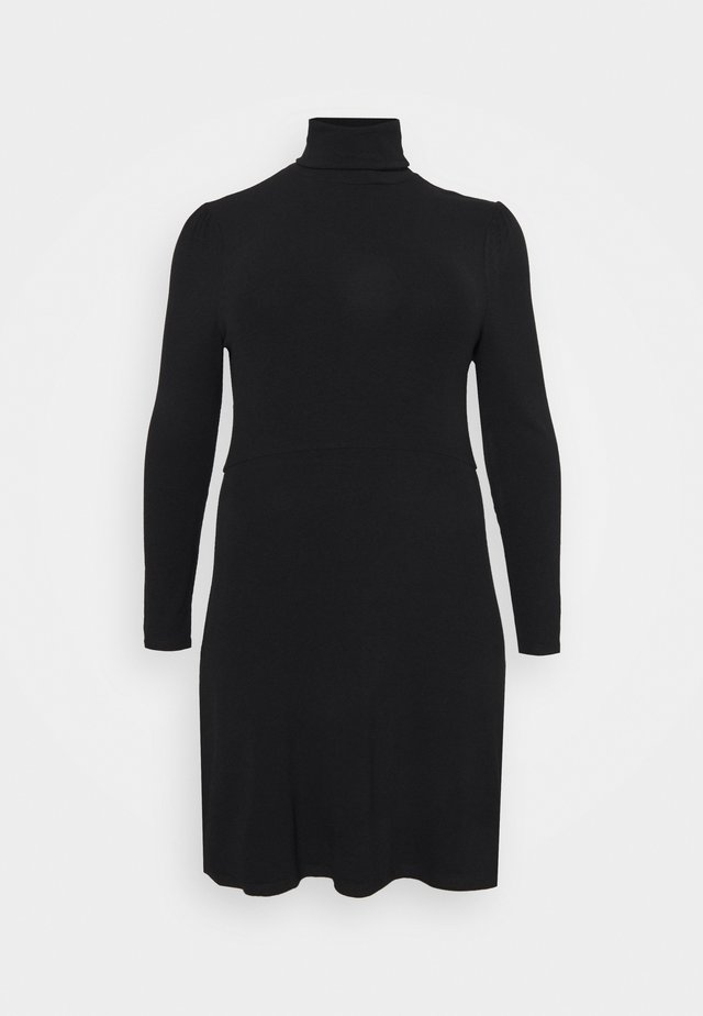 MINI DRESS WITH LONG SLEEVES AND ROLL NECK - Vestido de punto - black