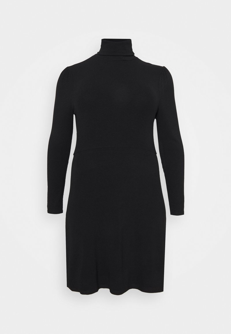 Glamorous Curve - MINI DRESS WITH LONG SLEEVES AND ROLL NECK - Jumper dress - black