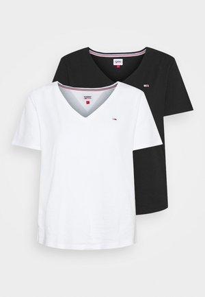 SLIM SOFT V NECK TEE 2 PACK - Basic T-shirt - black/white