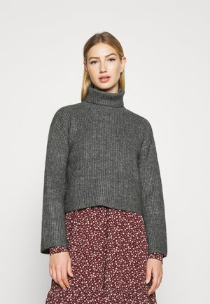 CROPPED BOXY ROLL NECK - Jumper - mottled dark grey