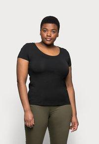 Anna Field Curvy - 3er PACK  - T-shirts - blue/green/black - 2
